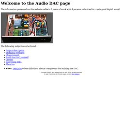 Welcome to the Audio DAC page