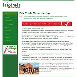 Welcome to Fair Trade Volunteering