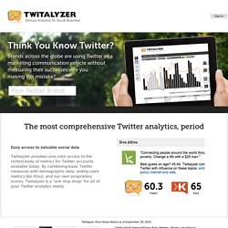 The Twitalyzer for Tracking Influence and Measuring Success in T