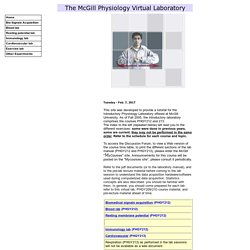 Welcome to the McGill University Physiology Virtual Lab