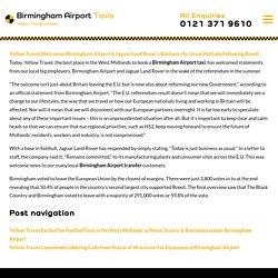 Birmingham Airport & Jaguar Land Rover's Business-As-Usual Attitude Following Brexit