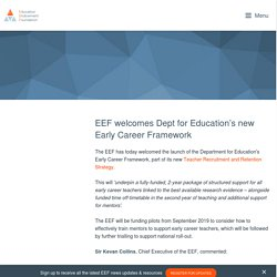 EEF welcomes Dept for Education's new Early Career Framework