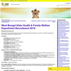 West Bengal State Health & Family Welfare Department Recruitment 2016- Rozgar darpan