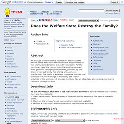 Does the Welfare State Destroy the Family?
