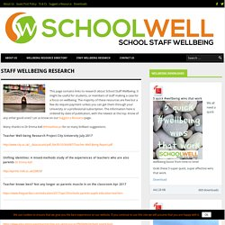 Staff Wellbeing Research - Schoolwell