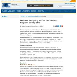 Wellness: Designing an Effective Wellness Program, Step by Step