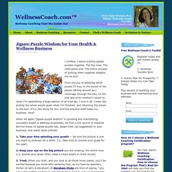 WellnessCoach.com™ » Jigsaw-Puzzle Wisdom for Your Health & Wellness Business