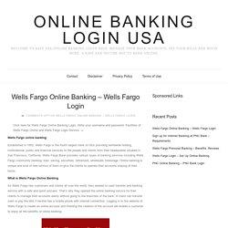 Wells Fargo Online Banking - Wells Fargo Login