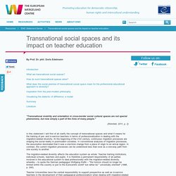 The European Wergeland Centre / Transnational social spaces and its impact on teacher education