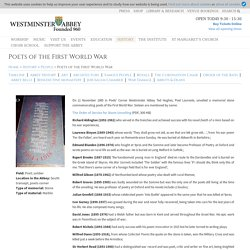 Westminster Abbey » Poets of the First World War
