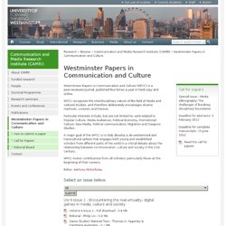 Research - Westminster Papers in Communication and Culture
