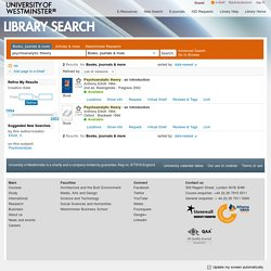 University of Westminster Library Search - psychoanalytic theory