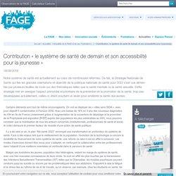 Contribution « le système de santé de demain et son accessibilité pour la jeunesse » / FAGE, septembre 2019