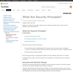 What Are Security Principals?