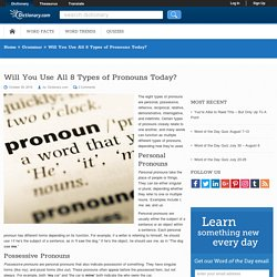 What Are the Types of Pronouns?