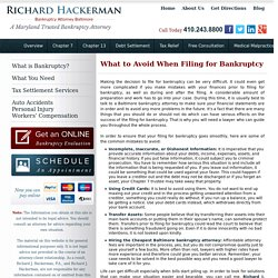 What to Avoid When Filing for Bankruptcy