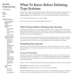 What To Know Before Debating Type Systems