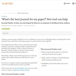 'What's the best journal for my paper?' New tool can help