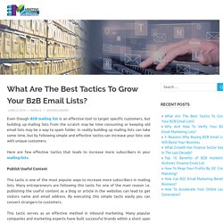 What Are The Best Tactics To Grow Your B2B Email Lists?