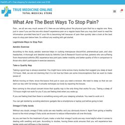 What Are The Best Ways To Stop Pain