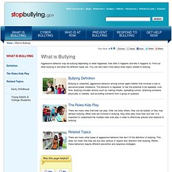 What is Bullying? | StopBullying.gov