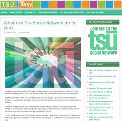 What can the Tsu Social Network do for you?