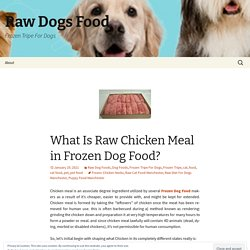 What Is Raw Chicken Meal in Frozen Dog Food?