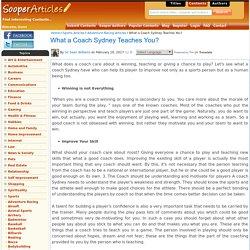 What a Coach Sydney Teaches You?