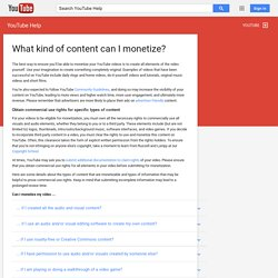 What kind of content can I monetize? - YouTube Help