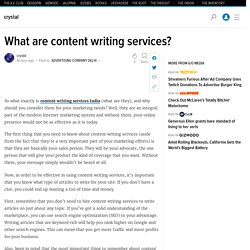What are content writing services?
