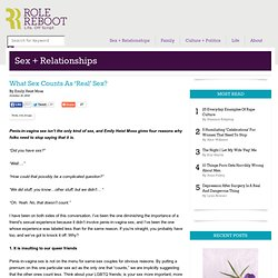 What Sex Counts As 'Real' Sex?