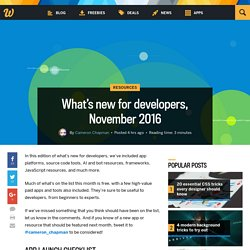 What's new for developers, November 2016
