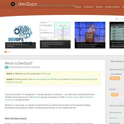 What is DevOps? - Blog - dev2ops - Solving Large Scale Web Operations and DevOps Problems