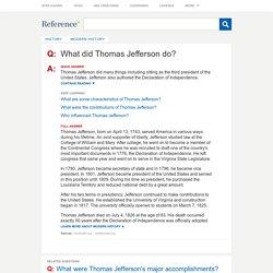 What did Thomas Jefferson do?