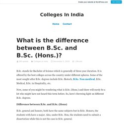 What is the difference between B.Sc. and B.Sc. (Hons.)?