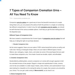 What are the Different Types of Companion Urns