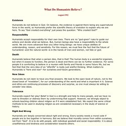 What Do Humanists Believe?