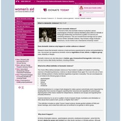 What is domestic violence? - Women's Aid