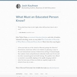 What Must an Educated Person Know?