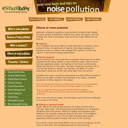 What are the effects of noise pollution?