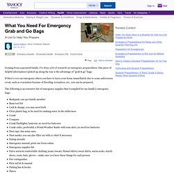 What You Need For Emergency Grab and Go Bags