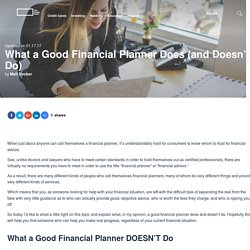 What a Good Financial Planner Does (and Doesn't Do)