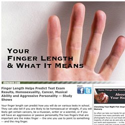 What your finger length tells about you