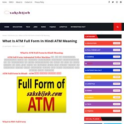 What Is ATM Full Form In Hindi ATM Meaning