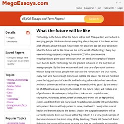 What the future will be like essays