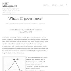 What's IT governance? – HEIT Management