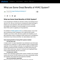 What are Some Great Benefits of HVAC System?