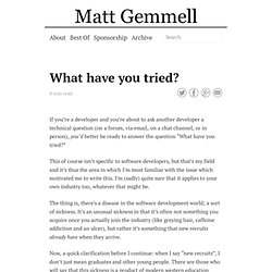 What have you tried? » Matt Legend Gemmell