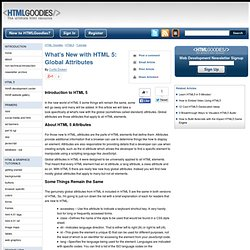 What's New with HTML 5: Global Attributes - www.htmlgoodies.com