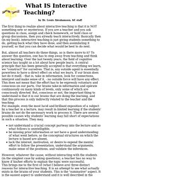 What is Interactive Teaching